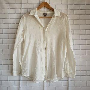 J Jill Sz S White Cream Pleated Tunic Blouse Top